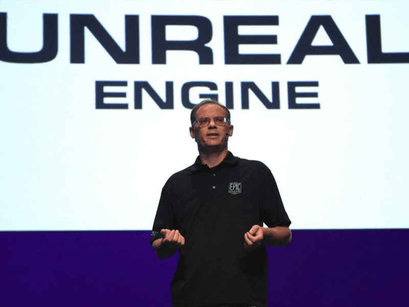 Tim Sweeney during his presentation with Unreal Engine for Epic Games!