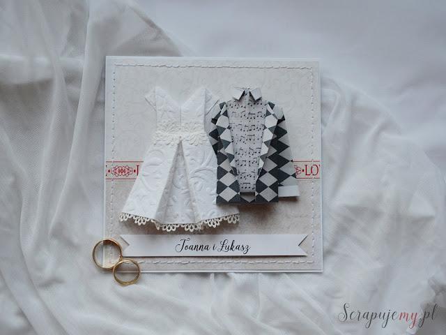 Kartka ślubna z sukienką i garniturem, kartka ślubna origami, kartka ślubna 3d, wypukła kartka ślubna, kartka na śłub, kartka ze strojami śłubnymi, inna kartka ślubna, nietypowa kartka ślubna