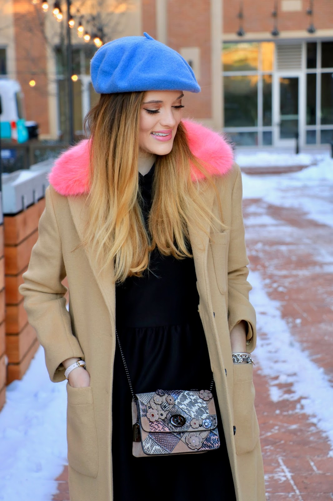 Nyc fashion blogger Kathleen Harper wearing a Rebecca Minkoff pink fur coat