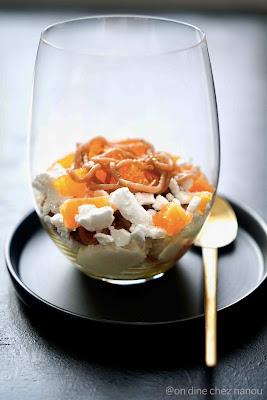 verrine chic , menu de reveillon , crème de marron , clémentines , meringue
