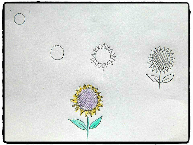 Learn to draw from alphabet : sunflower 1