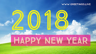 Pleasent look green color bg blue sky happy new year 2018