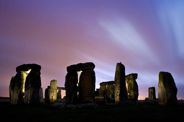 Stonehenge Images- The Setting Sun Colours of the Sky