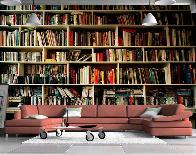 tapet bokhylla böcker motiv 3d vardagsrum