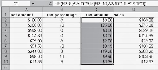 USE THE IF FUNCTION TO CALCULATE WITH DIFFERENT TAX RATES