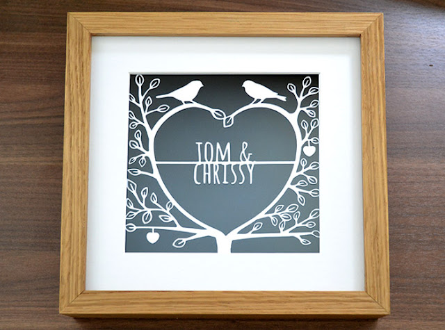 love birds personalised first anniversary papercutting