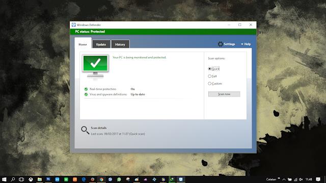 Saya menggunakan antivirus bawaan Windows (Defender)