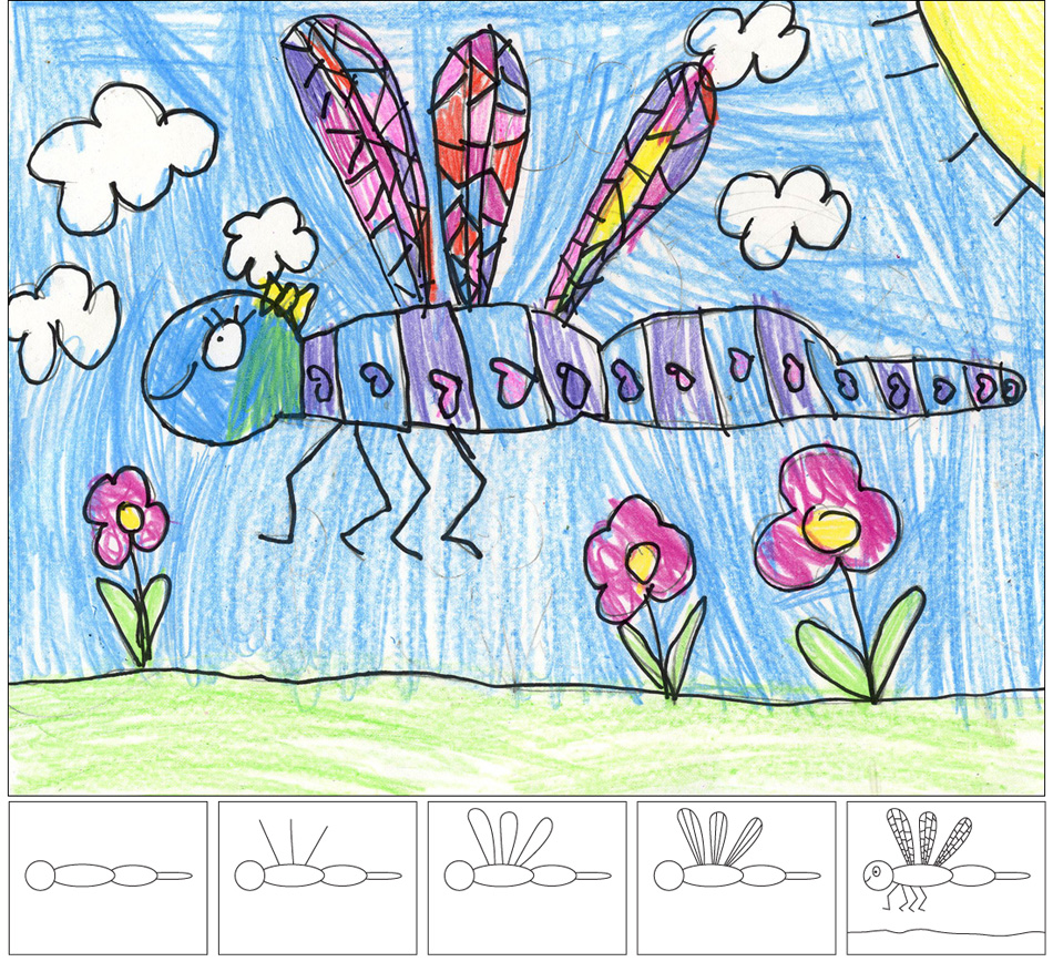 How to Draw a Dragonfly   Art Projects for Kids