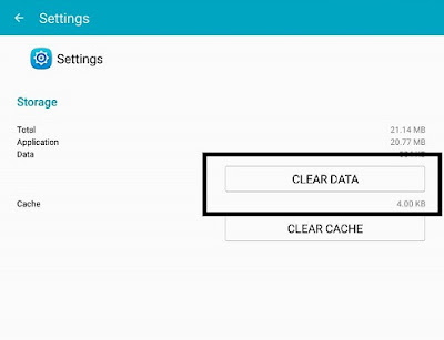 Clear Data Aplikasi Settings Samsung
