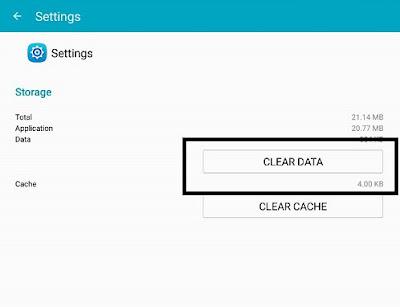 Clear Data Aplikasi Settings Samsung