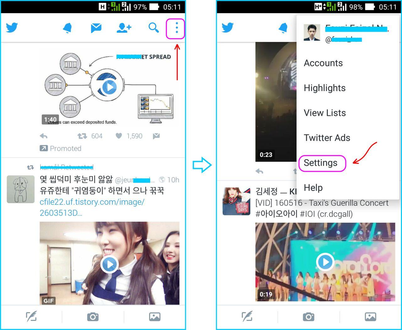 Disable Autoplay Twitter - Masuk Ke Pengaturan Twitter