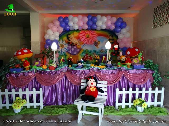 Mesa decorada de 1 ano - Decoração festa de aniversário infantil Jardim Encantado