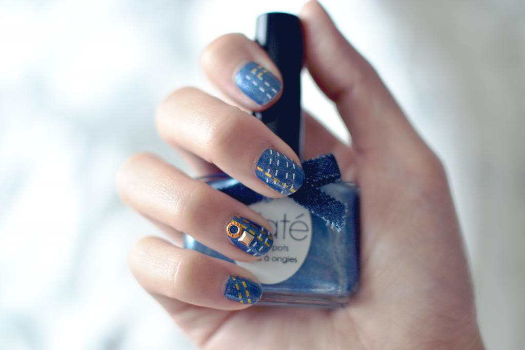 how to do a denim nail art