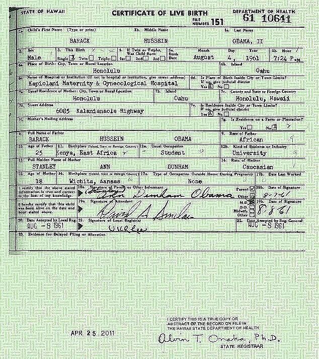 Hermano de Obama publica supuesta acta de nacimiento del ...