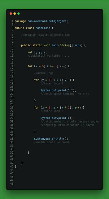 Contoh Code Perulangan Angka  Segitiga Segitiga Sama Kaki atau Cara Membuat Piramida Angka Terbalik Ke bawah Java