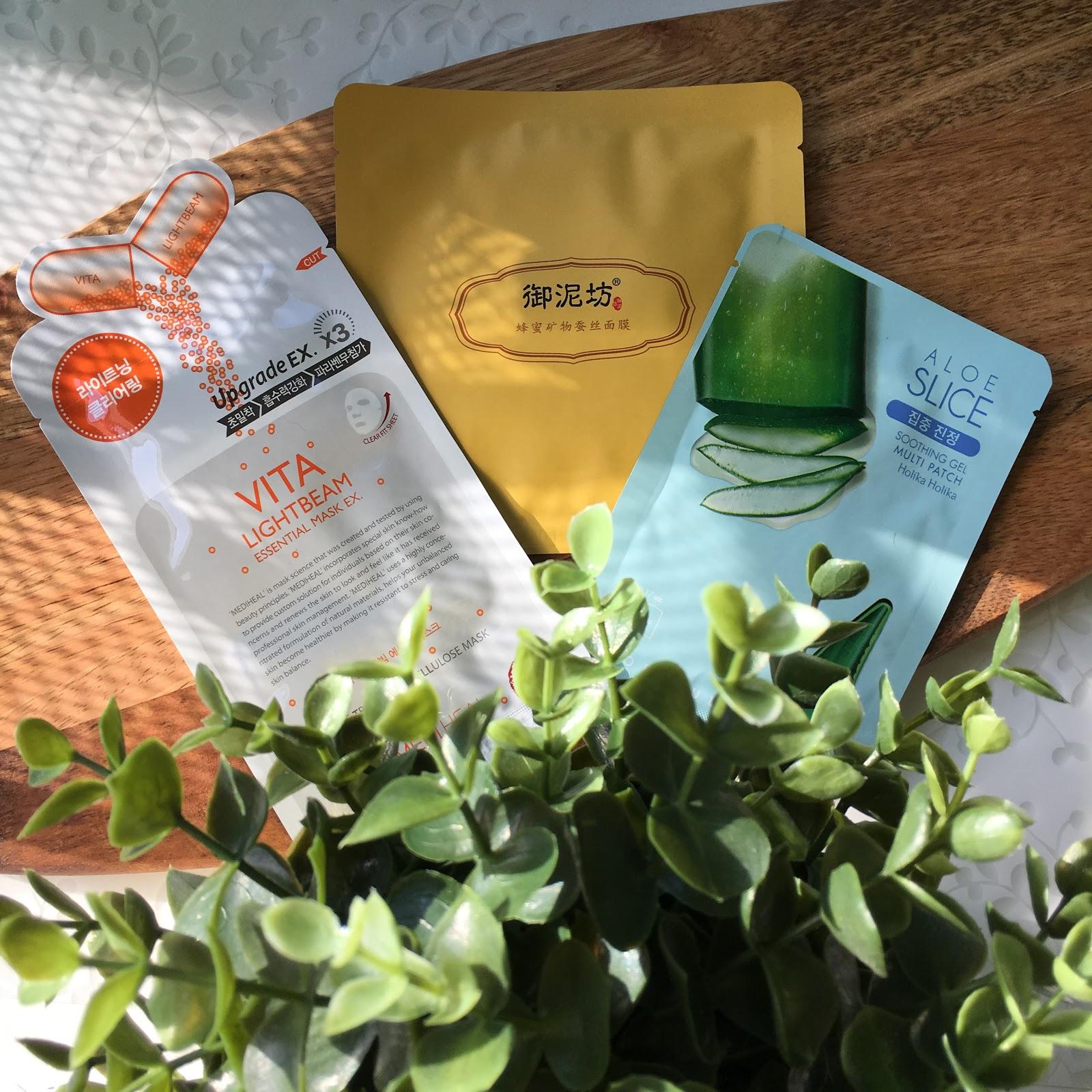 3 produkty to seria mini recenzji, dziś maski w płacie z Holika Holika, Medi Heal oraz Yunifang.