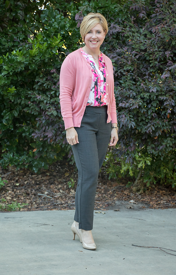 coral cardigan outfit