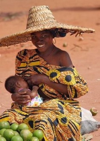 Breastfeeding african woman