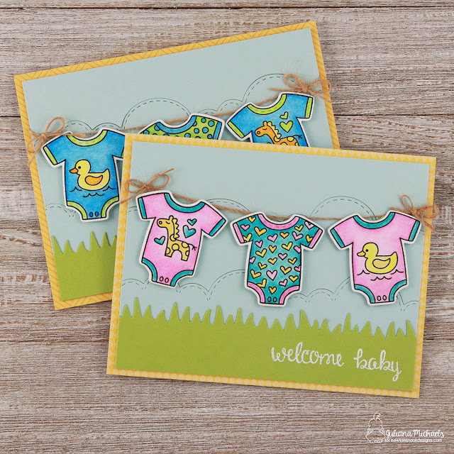 Welcome Baby Cards by Juliana Michaels featuring Newton's Nook Designs Lovable Laundry Stamp and Die Set