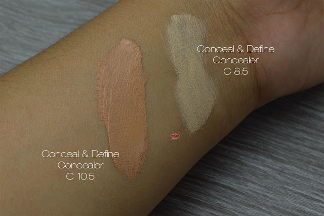 makeup revolution, tam beauty, revolution beauty london, Revolution Pro, swatches Conceal & Define Concealer C8.5, C10,5 Medium skin, latina skin, pelle media, pelle scura,