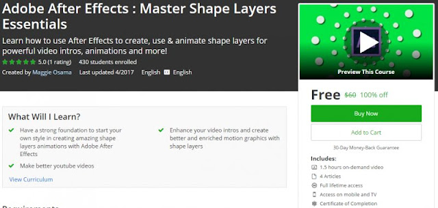[100% Off] Adobe After Effects : Master Shape Layers Essentials| Worth 60$
