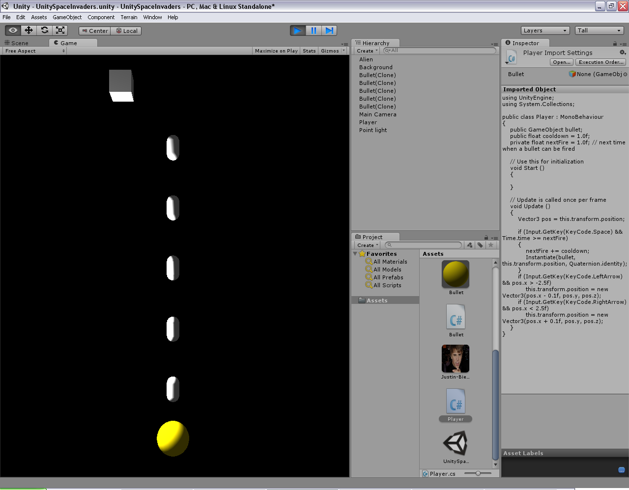 Programmer's Ranch: Unity3D: Space Invaders (Part 5 - Behaviour)