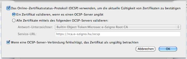Screenshot von den OCSP-Einstellungen meines Thunderbirds.
