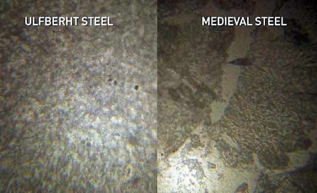 Nesta imagem vemos dois metais armazenado em acrílico sendo analisados em microscópio. O metal da direita é um aço medieval. Os pontos pretos que se vê são empurezas como areia ou qualquer outra coisa. Já o metal da esquerda é o aço da Ulfberth. É possível notar como ambos são totalmente diferentes.