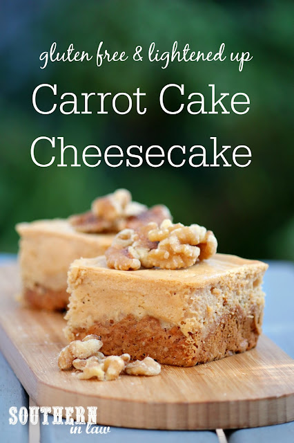 Easy Gluten Free Carrot Cake Baked Cheesecake Recipe - low fat, sugar free, gluten free, healthy, low calorie, clean eating dessert recipes, unique cheesecake recipes