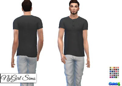 NyGirl Sims 4: Side Cut Button Tee