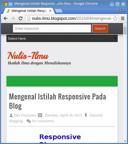 Tampilan blog saat layar lebih sempit