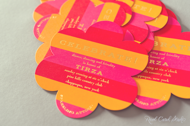 diecut flower, bold stripes in fuchsia, tangerine and geranium red, gold foil printing