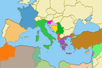 Mapa de los países bañados por el Mediterráneo