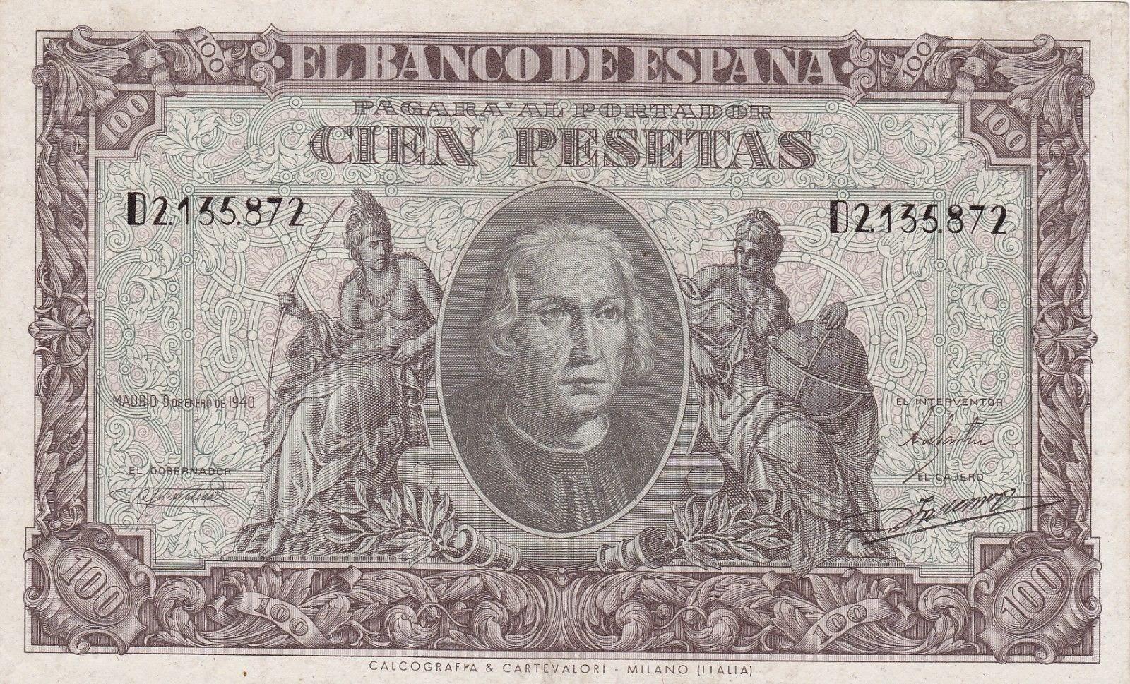 Spain Banknotes 100 Pesetas banknote 1940 Christopher Columbus