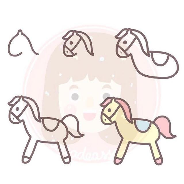 Cara menggambar kuda kartun