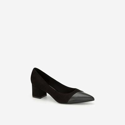 Giày Cao Gót Mũi Nhọn Phối Nubuck - BMN 0423 - Màu Đen