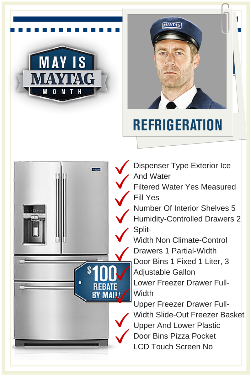 MayTag Month Refrigerator Promo.  $100.00 Mail-In Rebate Available
