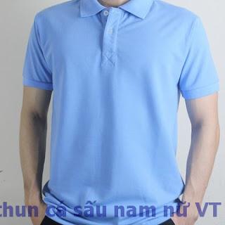 Áo thun trơn nam cổ bẻ màu xanh dương lợt