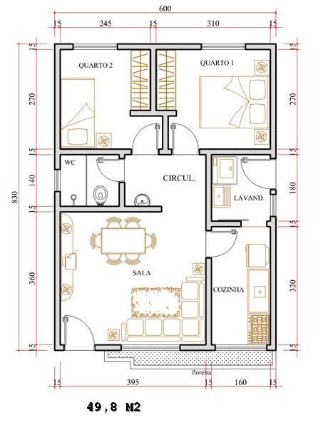 Projeto gr tis de uma casa com 49 8 m for Casa moderna de 50 m2