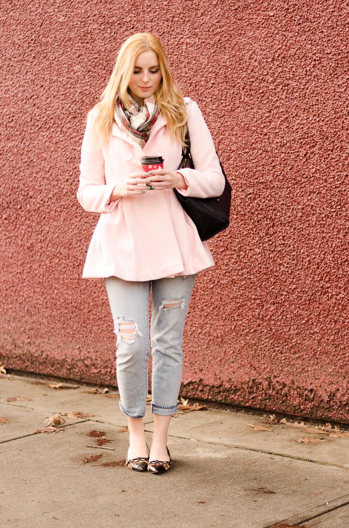 Blush tone winter jacket
