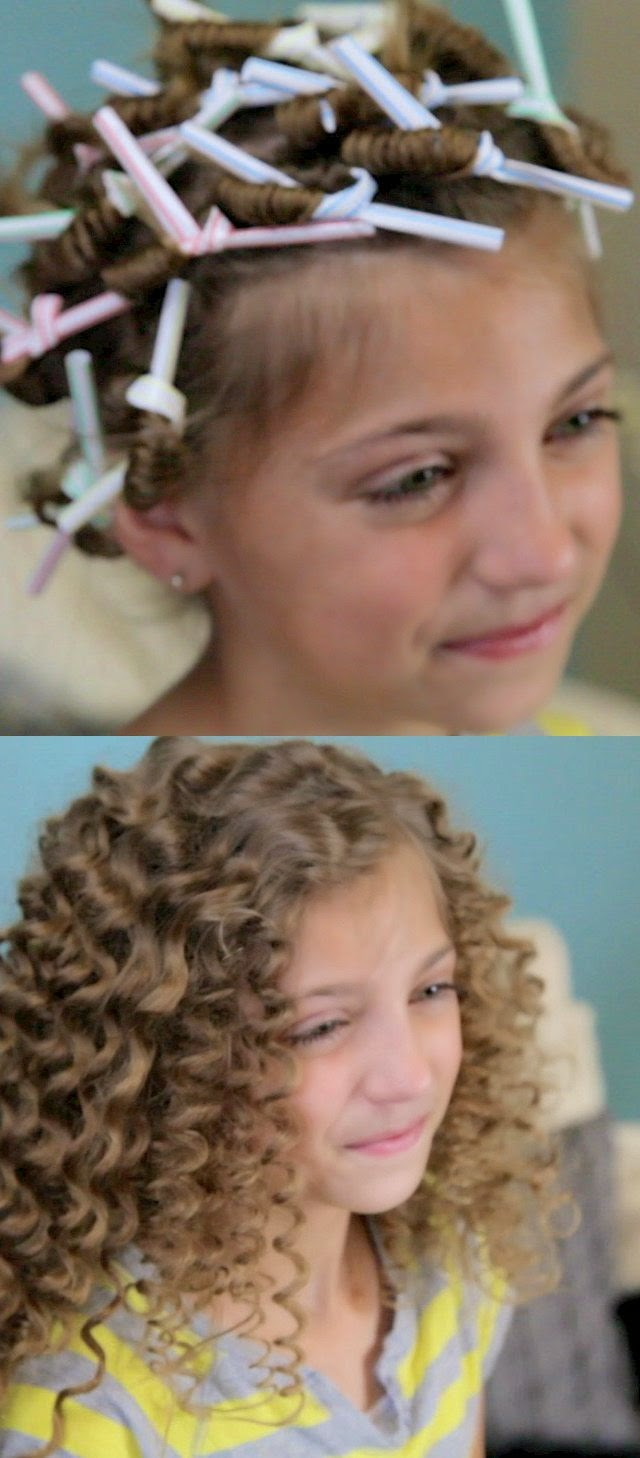 How cute! Use drinking straws to get super curly hair