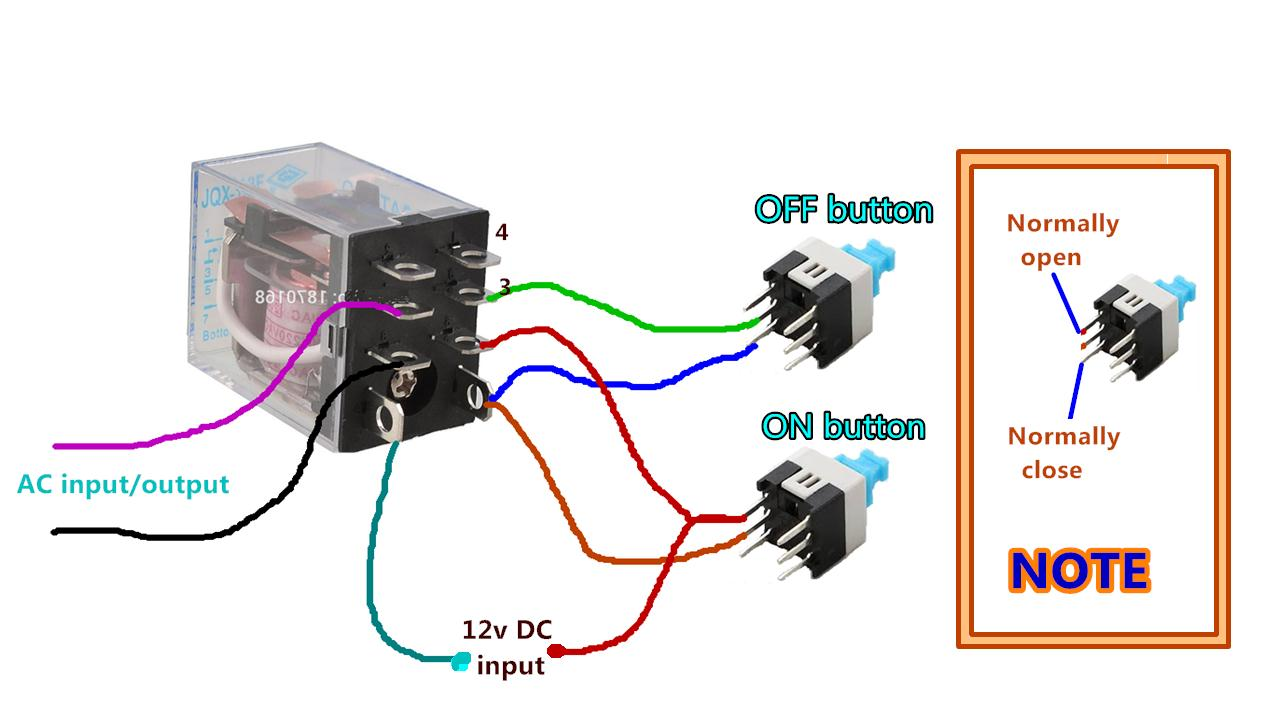hight resolution of protective how to wire relay with push button on off control using 12v dc relay