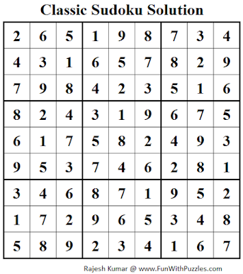 Standard Sudoku (Fun With Sudoku #39) Solution