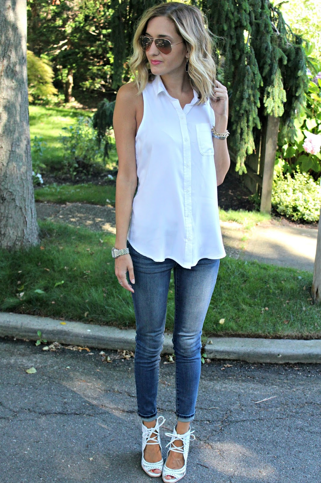 denim and white outfit from Target