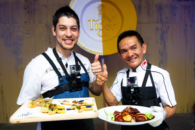 Chef Jeff Ramsey and Hawker Chan Hon Meng with their dishes at Tiger STREATS