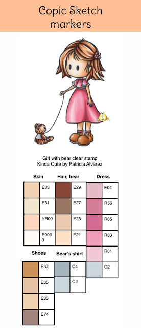 copic color combinations for a girl with a bear clear stamp