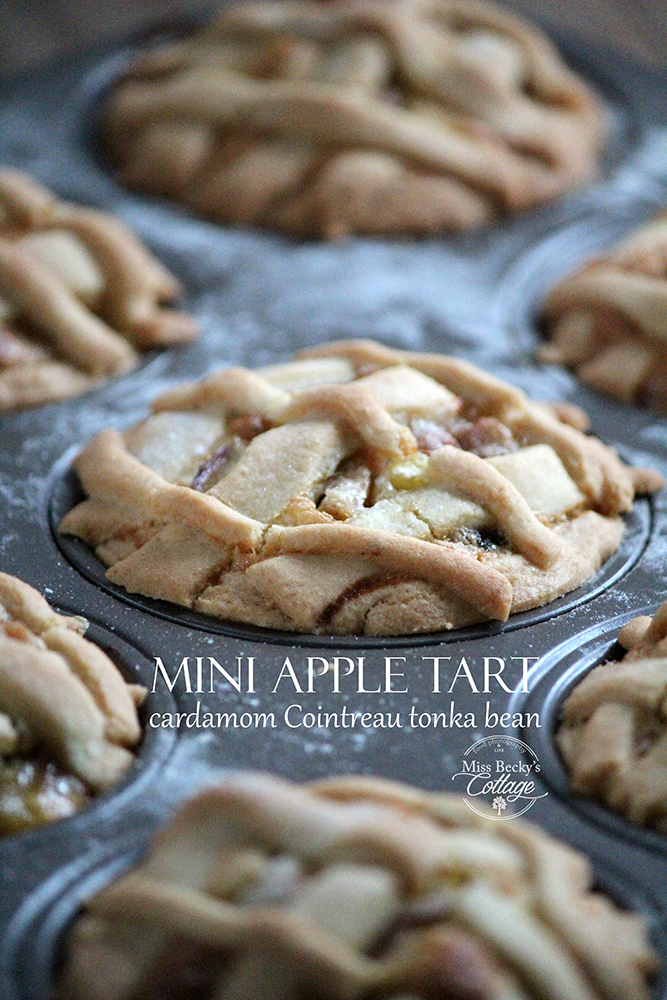 Mini apple tarts. Apples, Cointreau, cardamom, tonka bean photo rebeca sendroiu