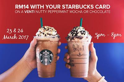 Starbucks Malaysia RM14 Venti Nutty Peppermint Mocha Chocolate Discount Promo Johor