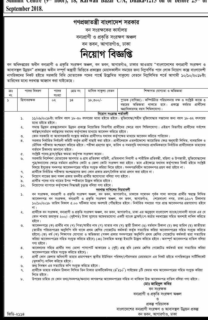 Forest Department Job Circular 2018
