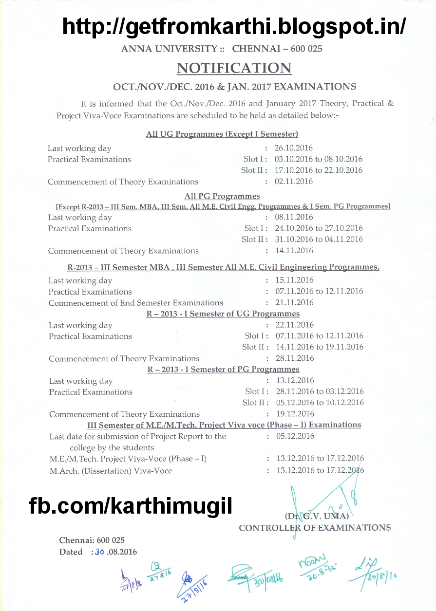 Anna university time table oct nov for Rdvv 5th sem time table